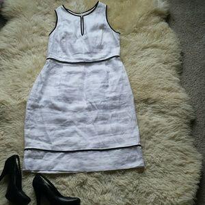 J.Crew 100% linen white and black dress